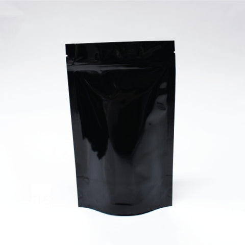 Stand Up Pouch With Zipper Closure- Gloss Black. 70G