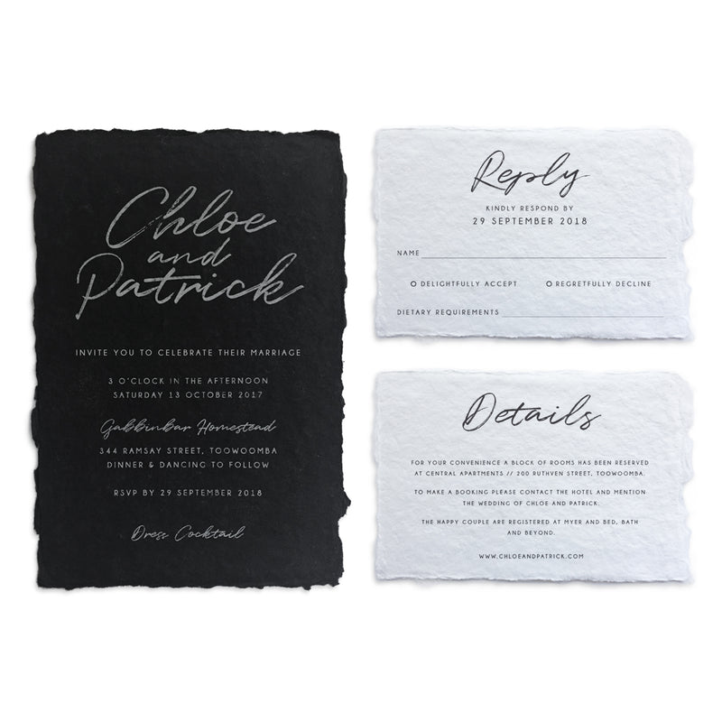 Paper bliss invitations and paper for weddings and special events the invitation is printed in white ink on black while the details cards are black ink on white you can choose either white or black envelopes reheart Images