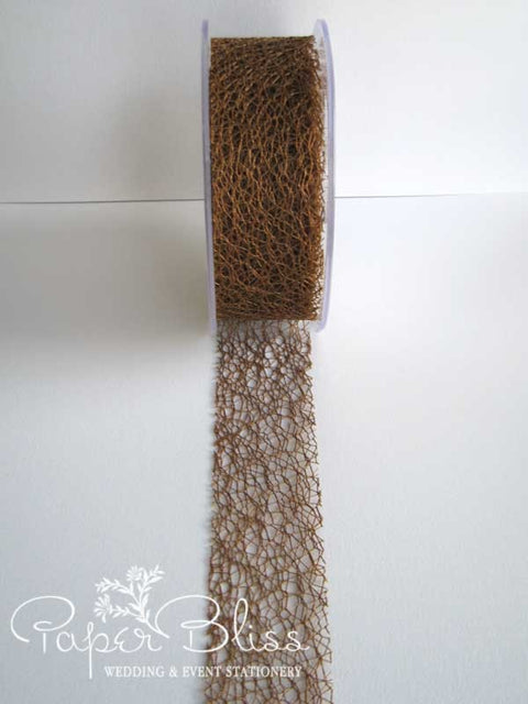 Mesh Ribbon, Coffee, 38mm