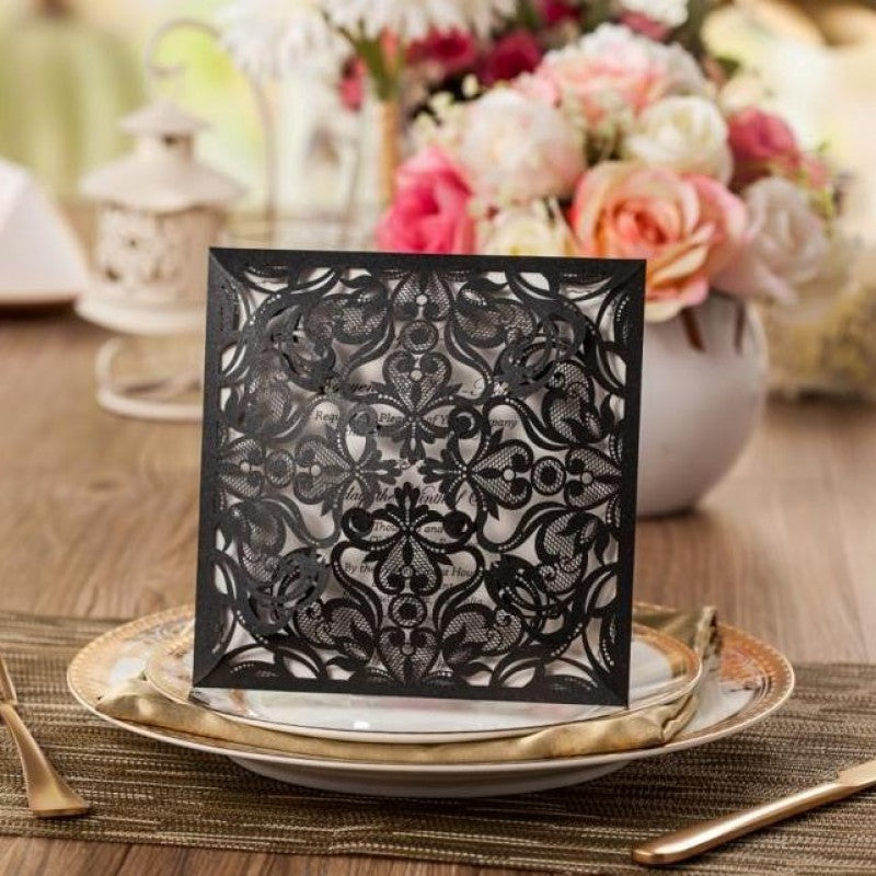 Edwardian Black Laser Cut Invitation (10 pack)