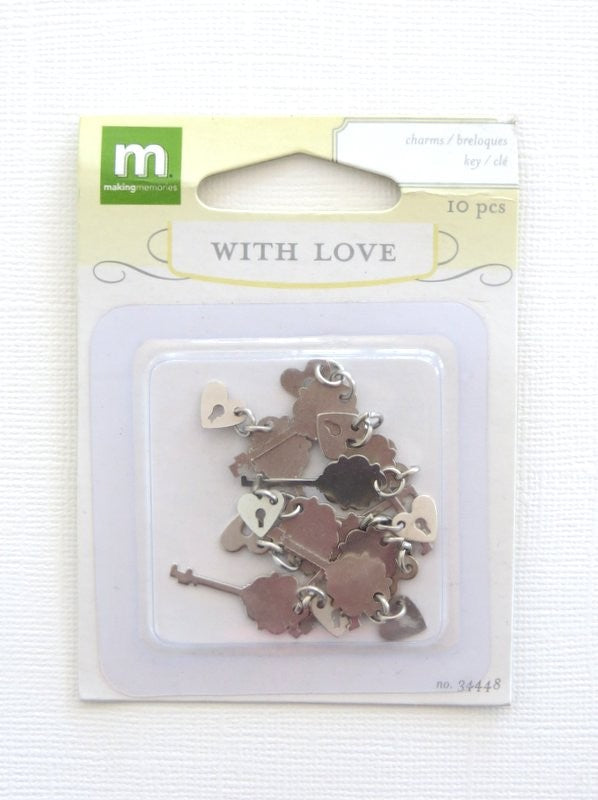 Key & Heart Charms (10 pack)