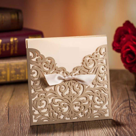 Eternity Gold Laser Cut Invitation (10 pack)