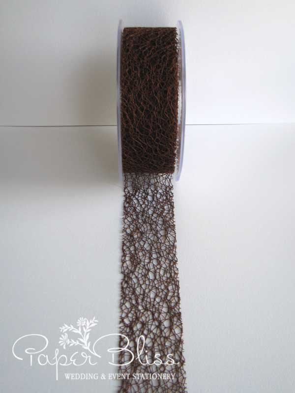 Mesh Ribbon, Dark Brown, 38mm