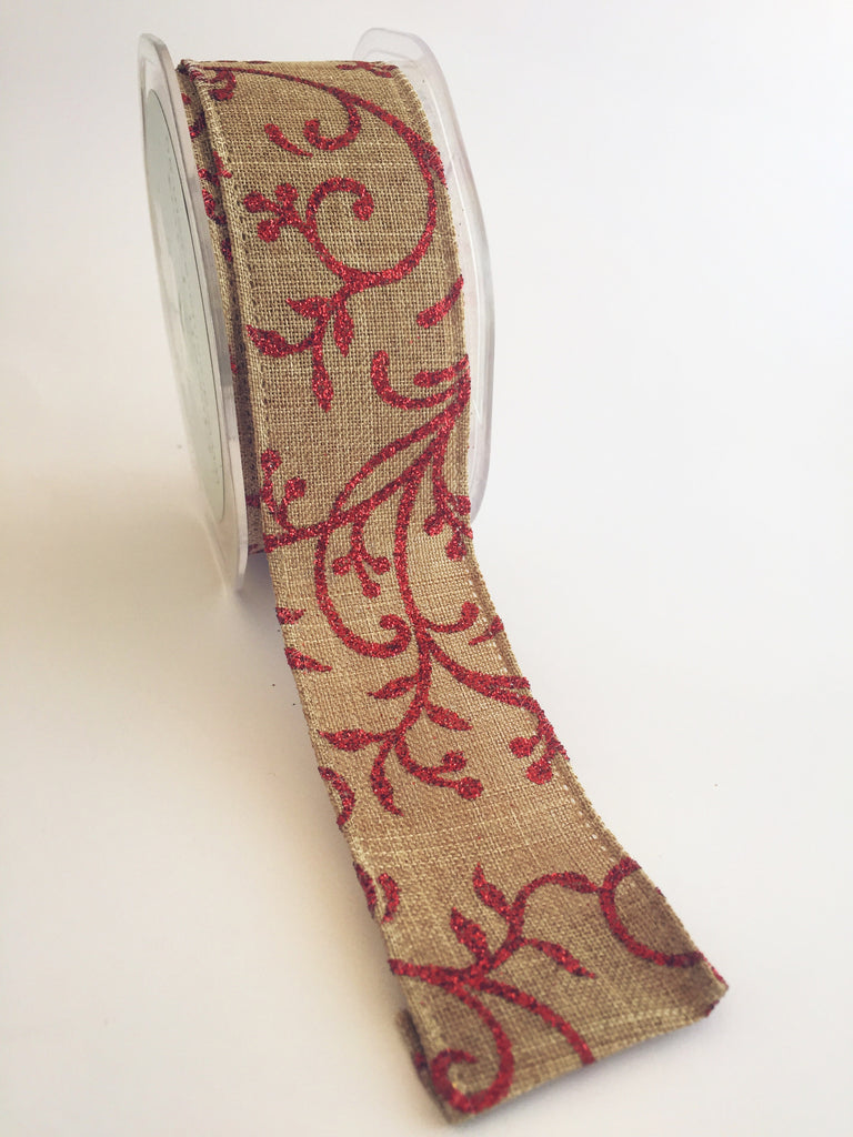 Red Glitter Leaves on Kraft Linen Ribbon 38mm