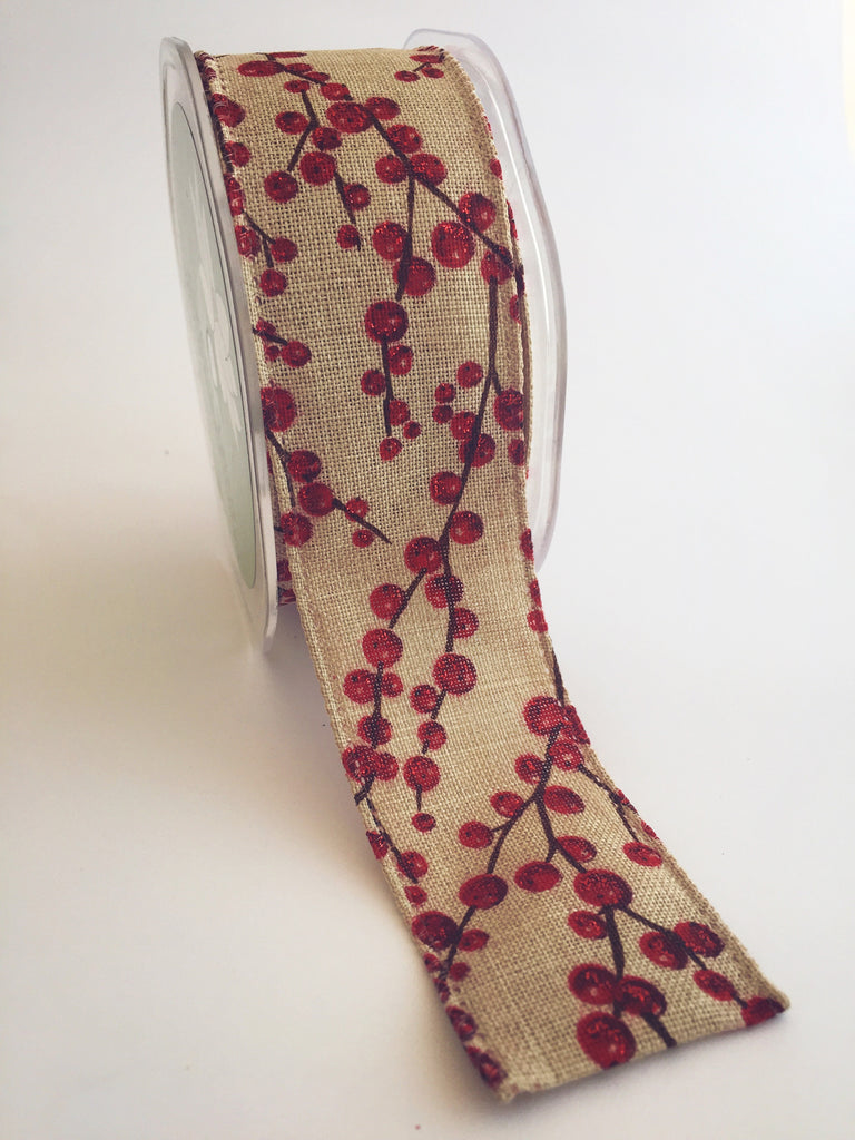 Red Glitter Berries on White Linen Ribbon 38mm