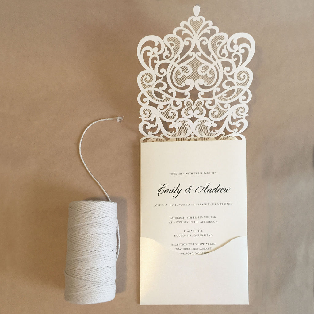 Swirl Heart White Laser Cut Invitation (10 pack)