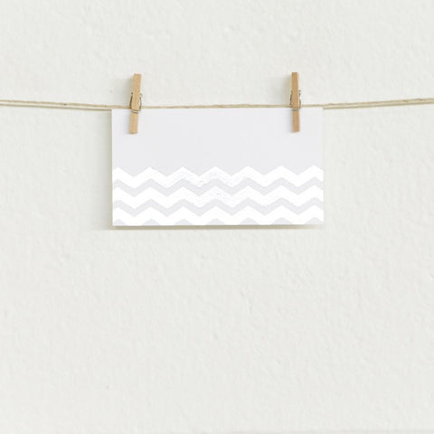Chevron, Silver Foil on White Placecards (10 pack)