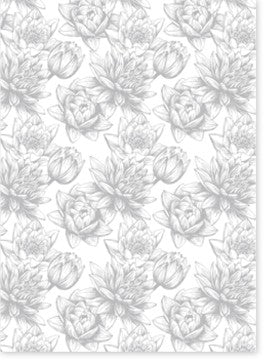Baroque Waterlily Silver on White