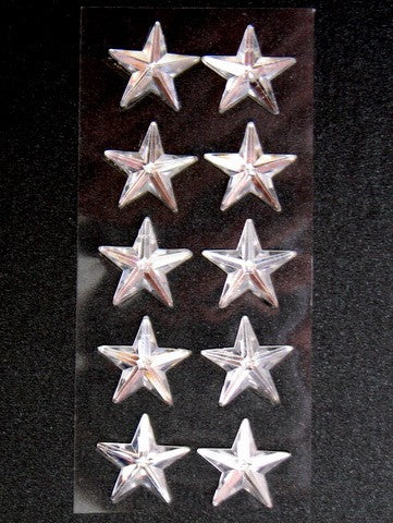 Silver Star Diamantes with adhesive backing (10)