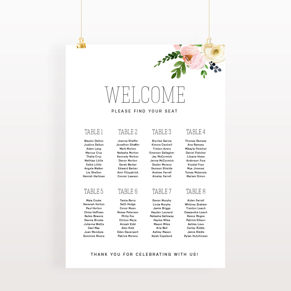 Blossom wedding seating chart - Paper Bliss