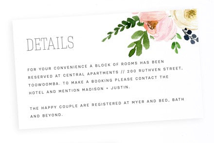 Blossom wedding details card - Paper Bliss
