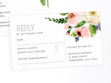 Blossom wedding RSVP card