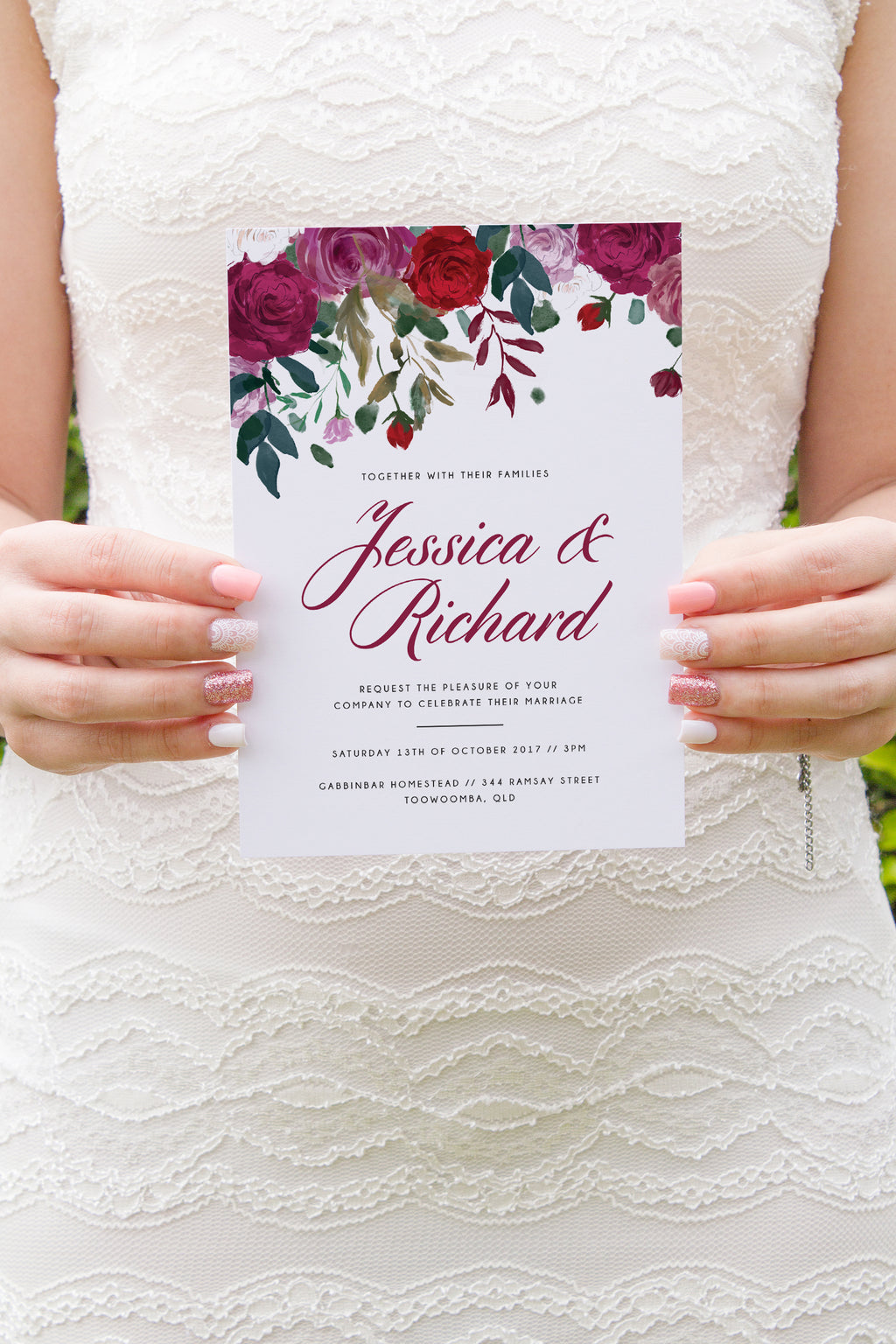 Floral Rose Invitation Suite - Paper Bliss