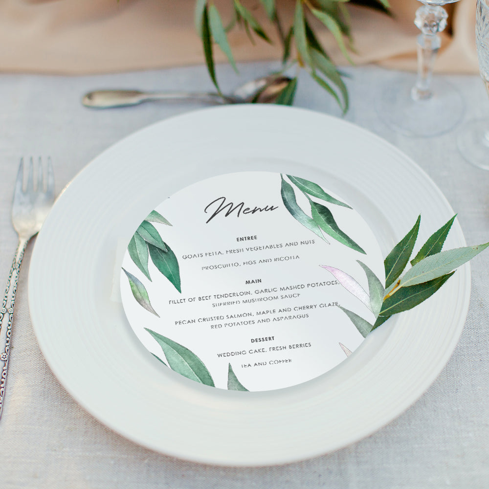 Eucalyptus wedding menus - Paper Bliss