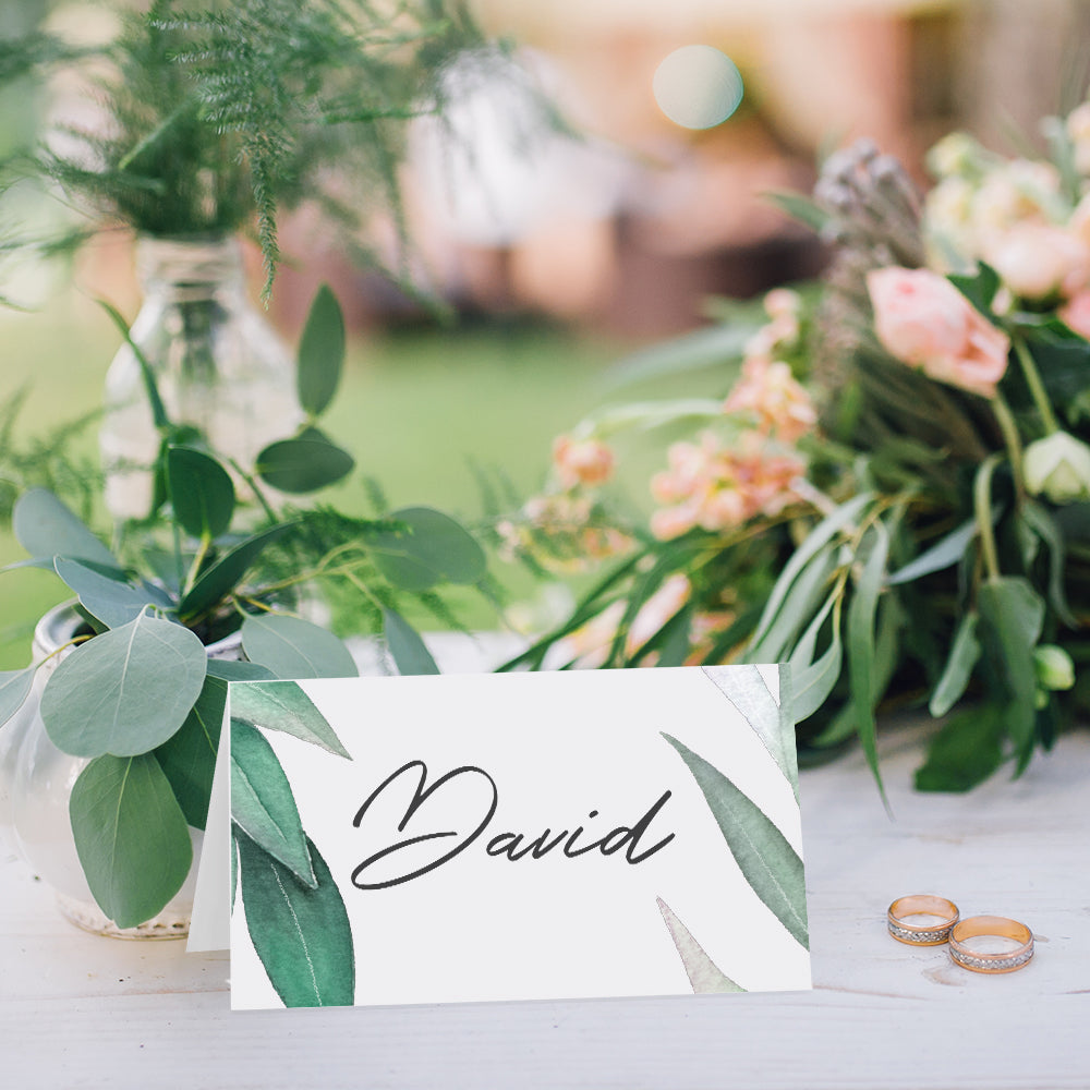 Eucalyptus wedding place cards - Paper Bliss