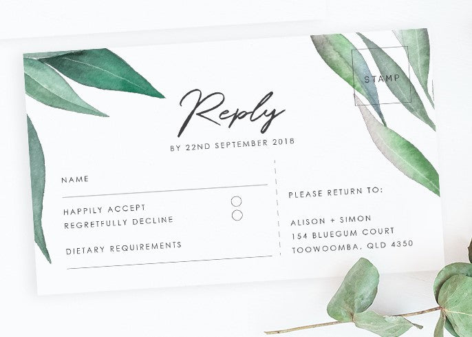 Eucalyptus wedding RSVP card - Paper Bliss
