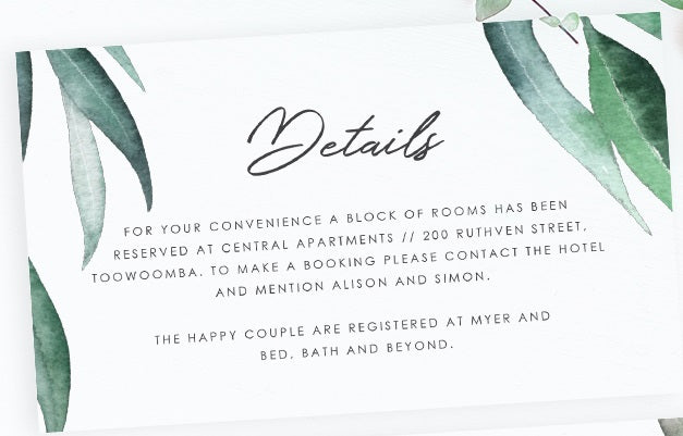 Eucalyptus wedding details card - Paper Bliss