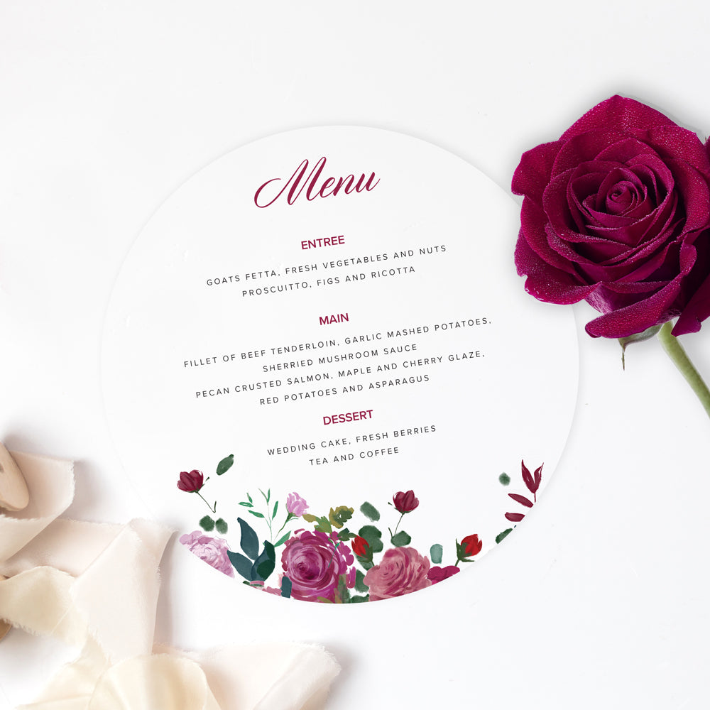 Floral Rose wedding menus - Paper Bliss