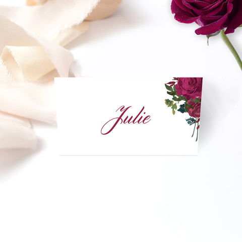 Floral Rose wedding place cards - Paper Bliss