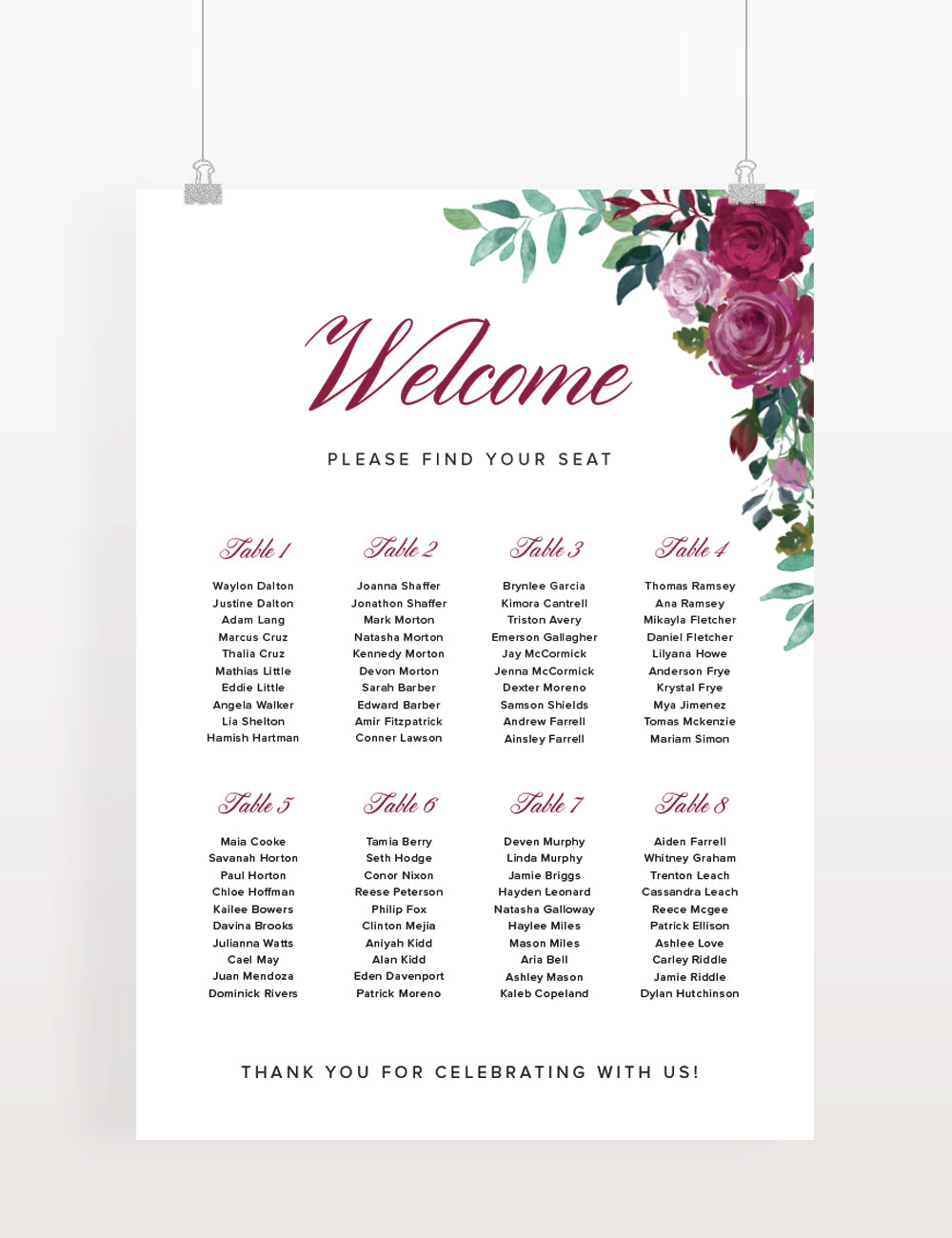 Floral Rose seating chart - Paper Bliss