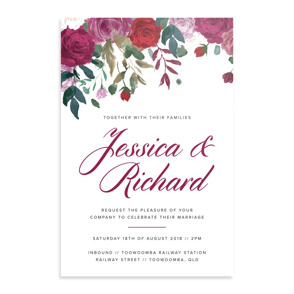 Floral rose invitation suite - printable PDF