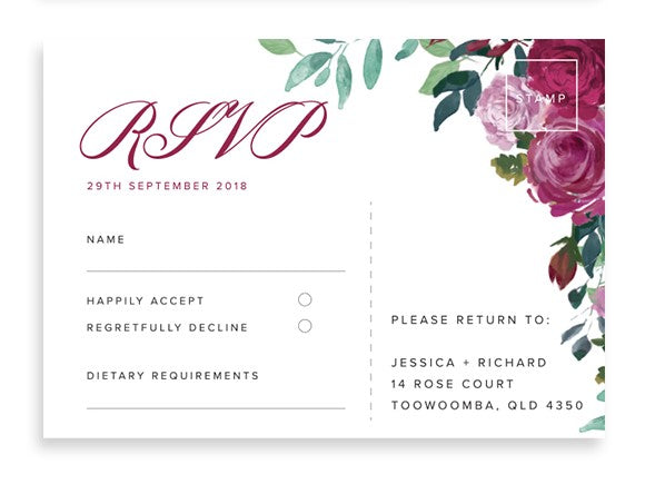 Floral Rose wedding RSVP card - Paper Bliss
