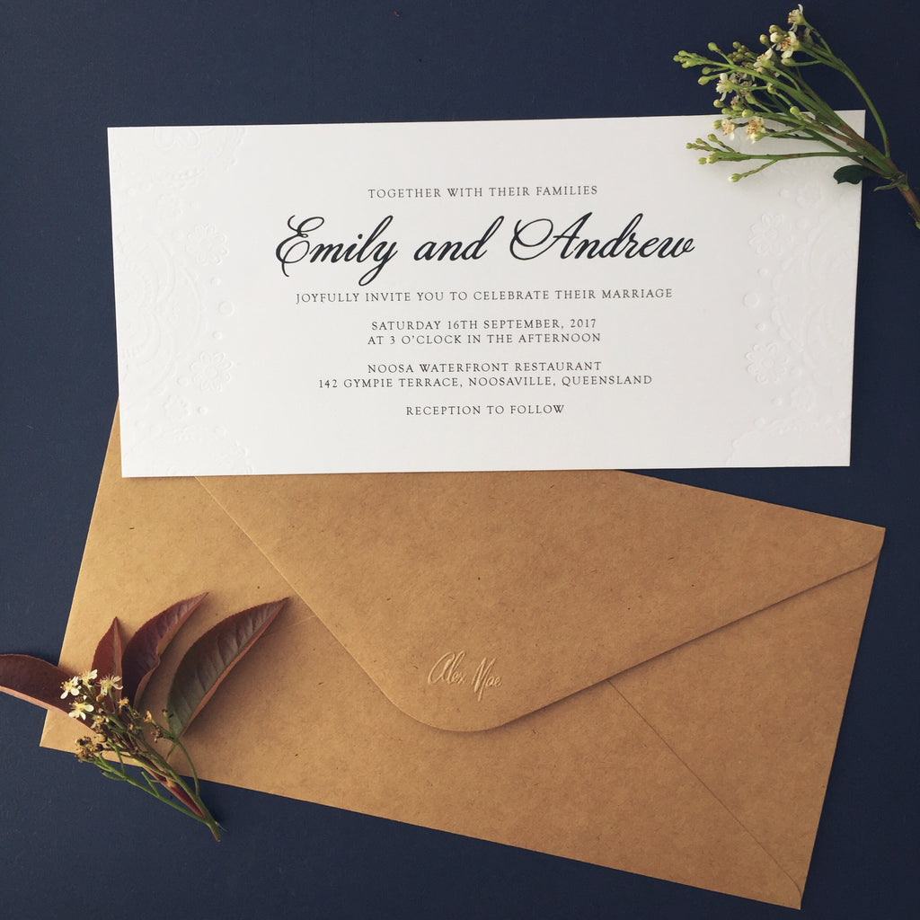Doily Embossed Invitation Suite | Kraft, Mint, Melon or White - Paper Bliss