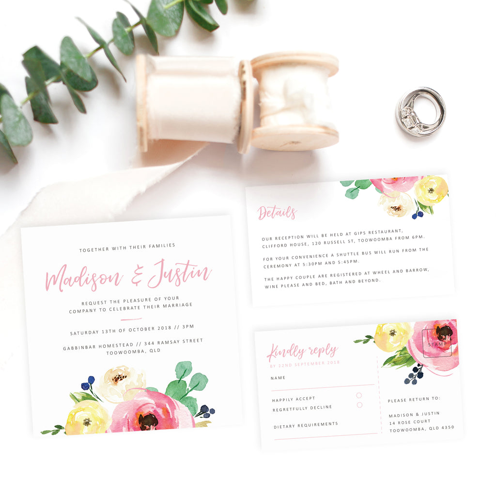 Spring wedding details card - Paper Bliss