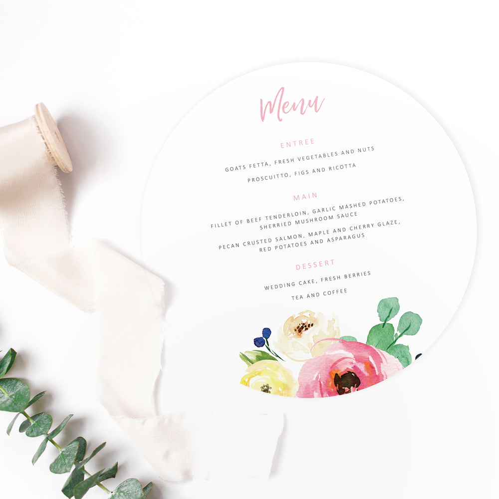 Spring wedding menus - Paper Bliss