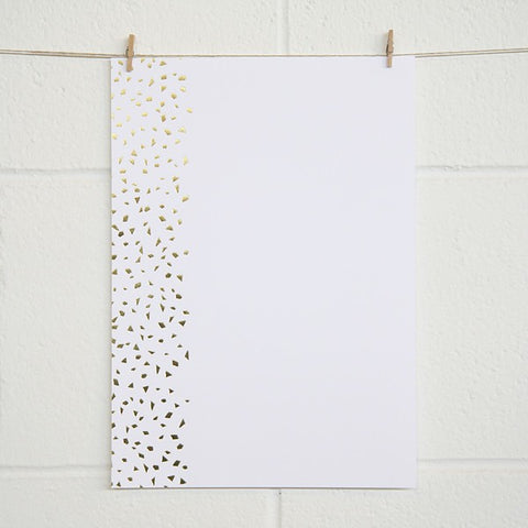 Confetti, Gold Foil on White Card (10 pack)