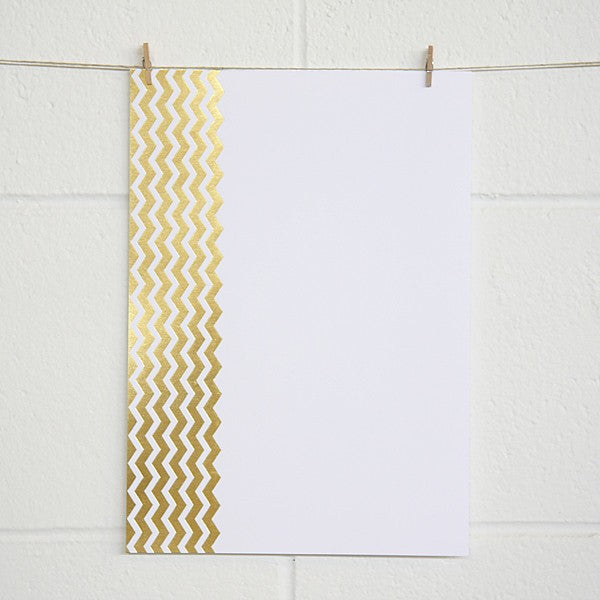 Chevron, Gold Foil on White Card (10 pack)