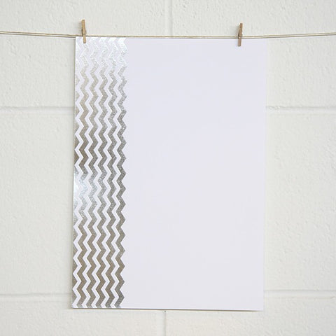 Chevron, Silver Foil on White Card (10 pack)