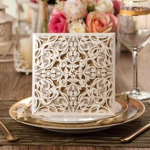 Edwardian Cream Laser Cut Invitation (10 pack)