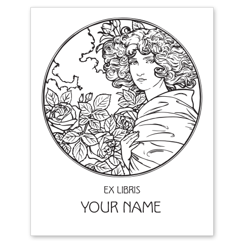 Girl with Roses Bookplate • Ex Libris Your Name • White Paper