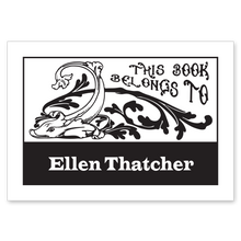 Fish and Scrolls Bookplate • This book belongs to Ellen Thatcher • White Paper