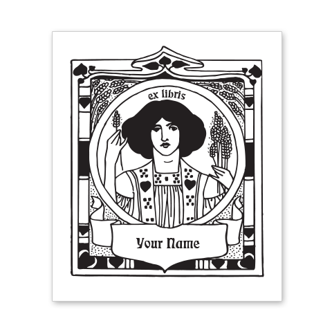 Woman with Wheat Bookplate • Ex Libris Your Name • White Paper