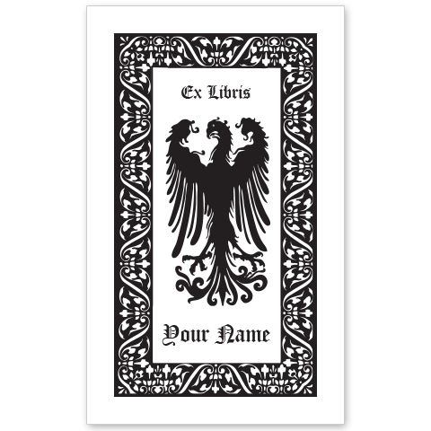 Displayed Falcon Bookplate • Ex Libris Your Name • Ornate Border • White Paper