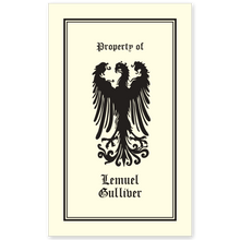Displayed Falcon Bookplate • Property of Lemuel Gulliver • Simple Border • Natural Paper