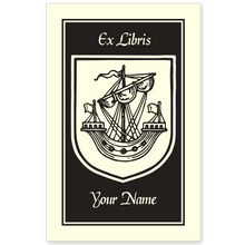 Armorial Ship Bookplate • Ex Libris Your Name • Natural Paper