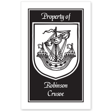 Armorial Ship Bookplate • Property of Robinson Crusoe • White Paper