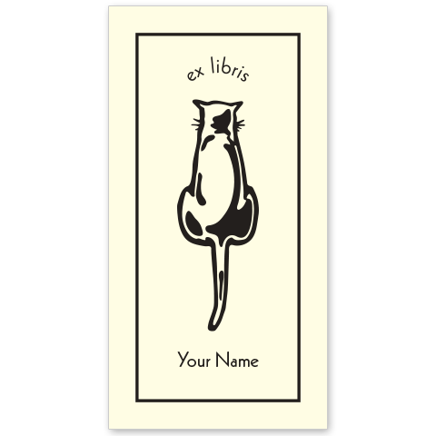 Cat Back Bookplate • Ex Libris Your Name • Natural Paper