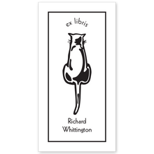Cat Back Bookplate • Ex Libris Richard Whittington • White Paper
