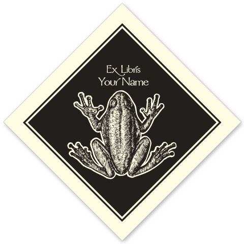 Frog on Diamond Bookplate • Ex Libris Your Name • Natural Paper