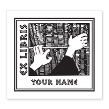 Bookshelf & Hands Bookplate • Ex Libris Your Name • White Paper