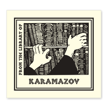 Bookshelf & Hands Bookplate • From the library of Karamazov • Natural Paper