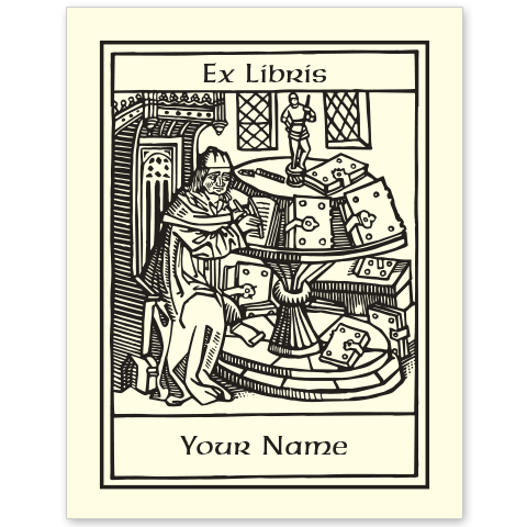 Medieval Scribe	 Bookplate • Ex Libris Your Name • Natural Paper