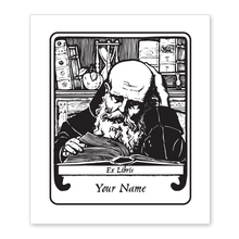 Monk with Book Bookplate • Ex Libris Your Name • White Paper