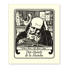 "Monk with Book Bookplate • ""Where there's life, there's hope."" Don Quixote • Natural Paper"
