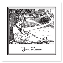 Maiden with Book Bookplate • Ex Libris Your Name • White Paper
