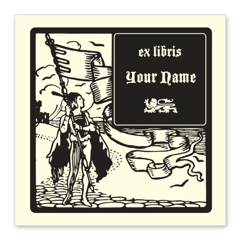 Boy with Flag Bookplate • Ex Libris Your Name • Natural Paper